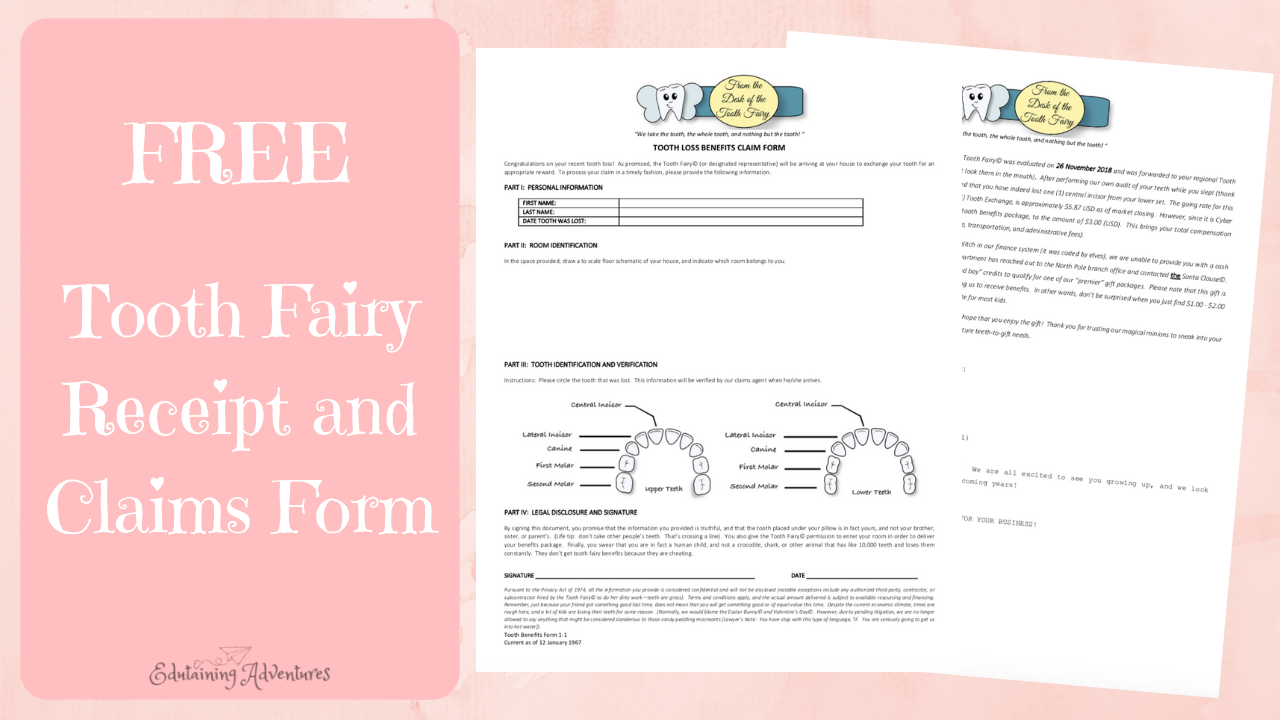 graphic regarding Free Printable Tooth Fairy Receipt referred to as Totally free Printable Enamel Fairy Receipt - Edutaining Adventures